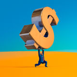 Businessman lifting up dollar sign. Business concept illustration. Businessman lifting up dollar sign. Business concept cartoon illustration. 3D rendering Stock Images
