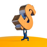 Businessman lifting up dollar sign. Business concept illustration. Businessman lifting up dollar sign. Business concept cartoon illustration. 3D rendering Royalty Free Stock Image