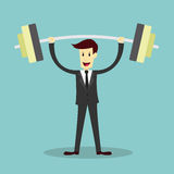 Businessman lifting weight, success business concept Royalty Free Stock Images