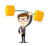 Businessman lifts up heavy barbell with dollar sign Stock Photos