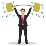 Businessman lifts up heavy barbell with dollar sign. Vector illustration for business financial strength concept. Royalty Free Stock Photos