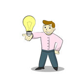 Businessman With Light Bulb. Cartoon illustration of Idea. Isolated on white Stock Photos