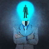 Businessman light bulb head choosing people Stock Photography