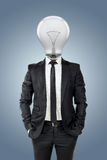 Businessman with light bulb head, creativity in business concept Royalty Free Stock Photography