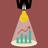 Businessman with a light bulb head glow to graph up chart Stock Photography