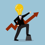 Businessman with a light bulb head and graph up Stock Images