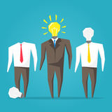 Businessman Light Head On/Off Royalty Free Stock Photography