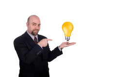 Businessman with lightbulb Stock Photo