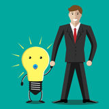 Businessman with lightbulb baby Stock Photography