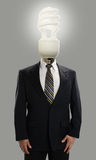 Businessman with lightbulb head Stock Images