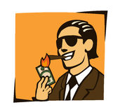 Businessman lights a cigar with dollar Royalty Free Stock Images