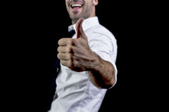 Businessman like. Businessman laughing holding his thumb up Royalty Free Stock Photo