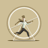 Businessman like a squirrel in the wheel vector illustration Stock Photography