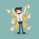 Businessman like , thumbs up Stock Images
