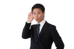 Businessman that listen. This is a picture of businessman that listen Royalty Free Stock Photos