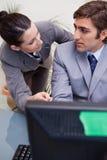 Businessman listening explanation Stock Image