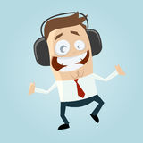 Businessman is listening music Royalty Free Stock Image