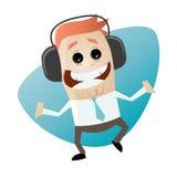 Businessman is listening music. Illustration of a businessman is listening music Stock Images