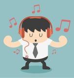 Businessman listening to music. Cartoons concepts Stock Photos