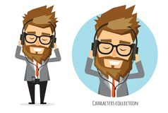 Businessman listening to music on headphones. Young man in suit is listening music in headphone. cartoon, character in flat style Royalty Free Stock Images