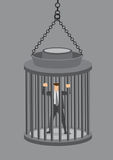 Businessman in Locked Cage Vector Illustration Stock Images