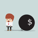 Businessman locked in a debt ball and chain, Debt concept Royalty Free Stock Photo