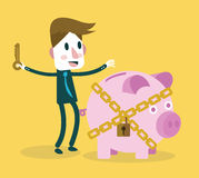 Businessman locked piggy bank. Business and investment concept. Flat design element. Vector illustration Royalty Free Stock Photography