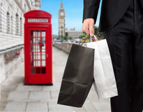 Businessman in London shopping Royalty Free Stock Image