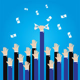 Businessman long hand grab money in the air Royalty Free Stock Photography