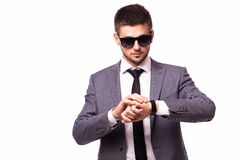 businessman look at clock on time Stock Photos