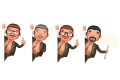 Businessman Look Out Corner Cute Man 3d Realistic Cartoon Character Design Isolated Set Vector Illustration. Businessman Look Out Corner Man Cute 3d Realistic Royalty Free Stock Photos