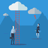 Businessman look up a ladder to cloud. Royalty Free Stock Photos