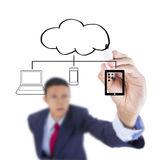 Businessman look up and writing devices connect cloud computing Royalty Free Stock Images