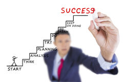 Businessman look up and writing step to success Royalty Free Stock Image