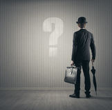 Businessman and questions Royalty Free Stock Photography