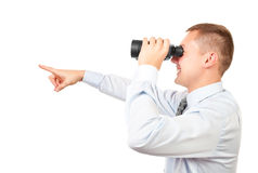 Businessman looking through binocular Royalty Free Stock Photo