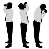 Businessman looking binoculars. Businessman silhouette looking binoculars vector Stock Photography