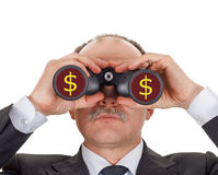 Businessman looking through binoculars. Isolated on white stock image