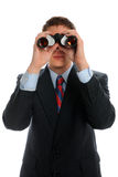 Businessman Looking Through Binoculars. For business opportunities Stock Photography