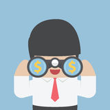 Businessman looking through binoculars. With dollar sign on the lens, VECTOR, EPS10 Stock Image