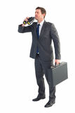 Businessman looking through binoculars Royalty Free Stock Photography