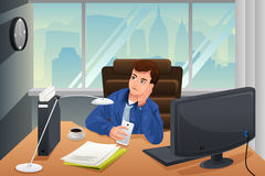 Businessman looking bored at the office. A vector illustration of businessman looking bored at the office royalty free illustration