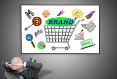 Businessman looking at brand concept Royalty Free Stock Images