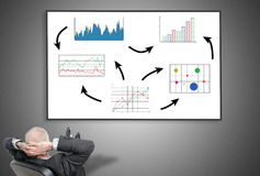 Businessman looking at business analysis concept Royalty Free Stock Image
