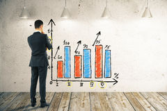 Businessman looking at business chart Royalty Free Stock Images
