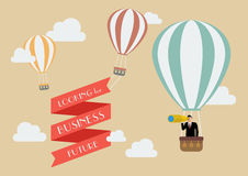 Businessman looking for business in a hot air balloon Stock Photography
