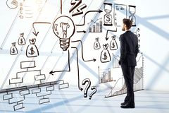 Businessman looking at business sketch Stock Image