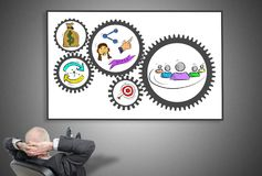 Businessman looking at business strategy concept Stock Photos