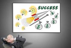 Businessman looking at business success concept Stock Photos