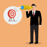 Businessman looking for business target Stock Images